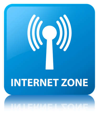 Internet zone (wlan network) isolated on cyan blue square button reflected abstract illustration