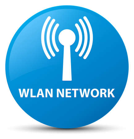 Wlan network isolated on cyan blue round button abstract illustration Stock Photo