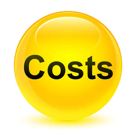 Costs isolated on glassy yellow round button abstract illustration Stock Photo