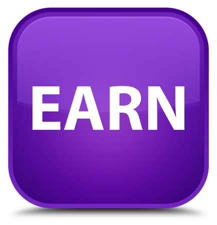Earn isolated on special purple square button abstract illustration