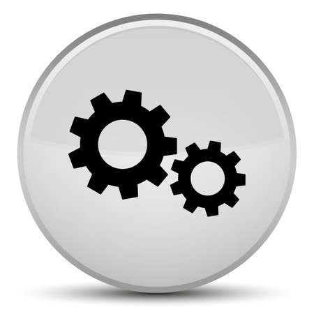 Process icon isolated on special white round button abstract illustration