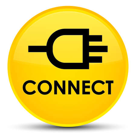 Connect isolated on special yellow round button abstract illustration Stock Photo