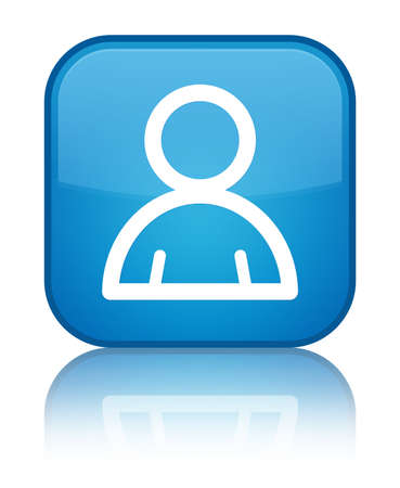 Member icon isolated on special cyan blue square button reflected abstract illustration Stock Photo