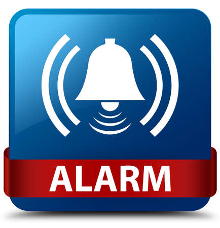 Alarm (bell icon) isolated on blue square button with red ribbon in middle abstract illustration