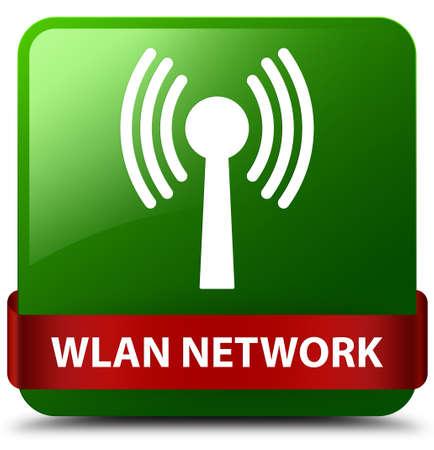Réseau WLAN isolé sur un bouton carré vert avec ruban rouge en illustration abstraite moyenne Banque d'images - 90693359