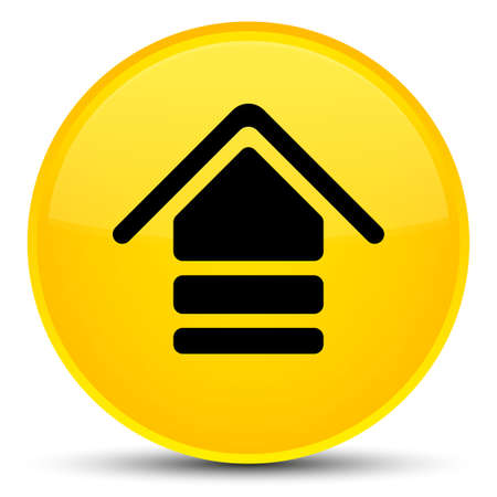 Upload icon isolated on special yellow round button abstract illustration