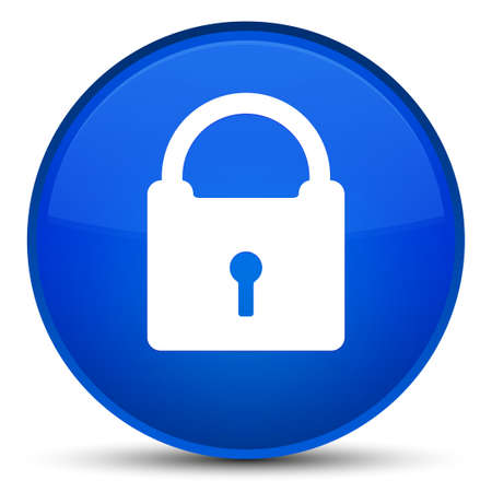 Padlock icon isolated on special blue round button abstract illustration