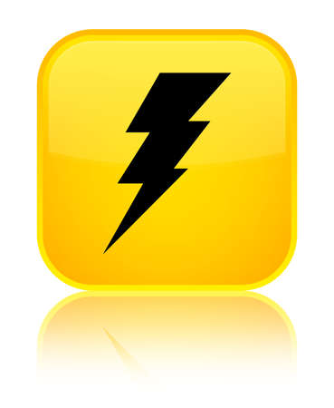 Electricity icon isolated on special yellow square button reflected abstract illustration Stock Photo