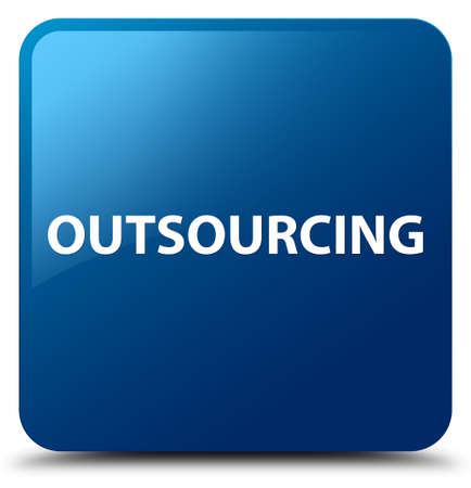 Outsourcing isolated on blue square button abstract illustration