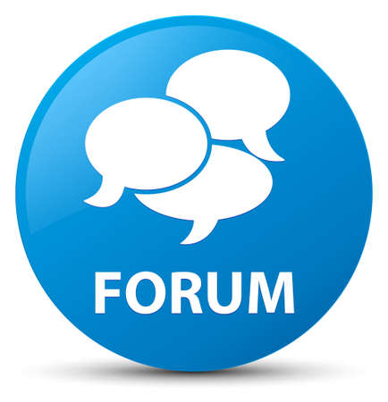 Forum (comments icon) isolated on cyan blue round button abstract illustration