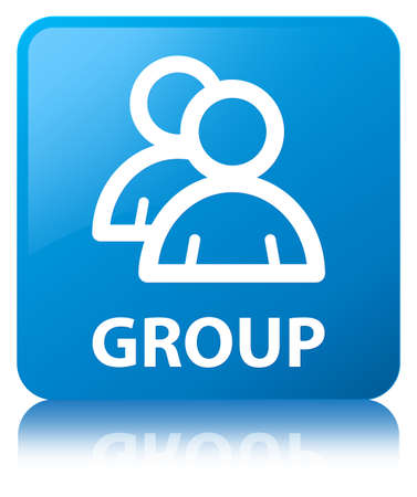 Group isolated on cyan blue square button reflected abstract illustration Stock Photo