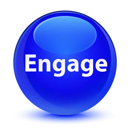 Engage isolated on glassy blue round button abstract illustration