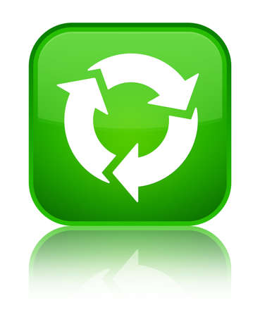 Refresh icon isolated on special green square button reflected abstract illustration