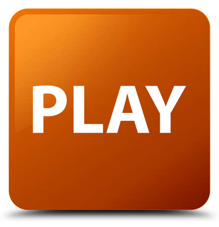 Play isolated on brown square button abstract illustration Stock Photo