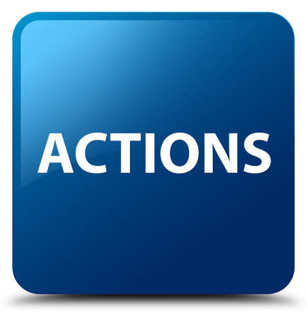 Actions isolated on blue square button abstract illustration