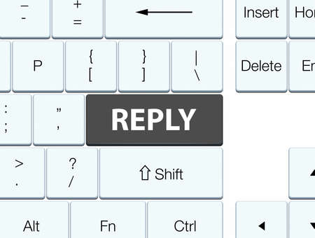 Reply isolated on black keyboard button abstract illustration Stock Photo