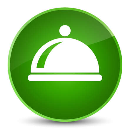 Food dish icon isolated on elegant green round button abstract illustration Stock Photo