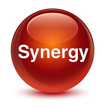 Synergie op glazige bruine ronde knoop abstracte illustratie die wordt geïsoleerd Stockfoto