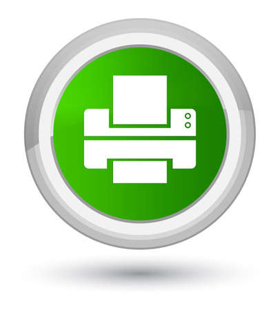 Printer icon isolated on prime green round button abstract illustration