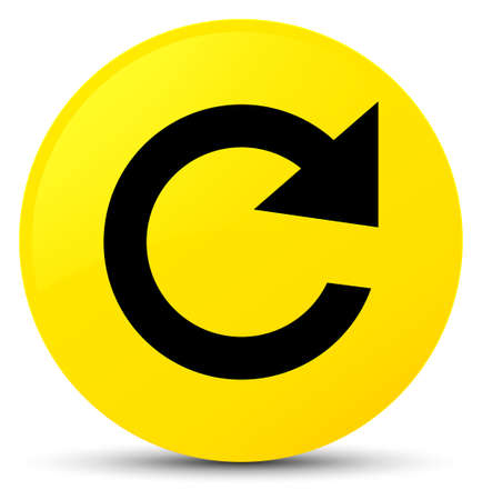 Reply rotate icon isolated on yellow round button abstract illustration Stock Photo