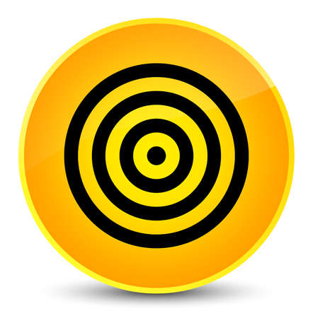 aim: Target icon isolated on elegant yellow round button abstract illustration