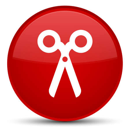 Scissors icon isolated on special red round button abstract illustration