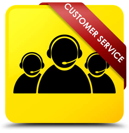 Customer service (team icon) isolated on yellow square button with red ribbon in corner abstract illustration