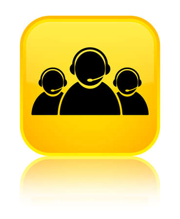 Customer care team icon isolated on special yellow square button reflected abstract illustration