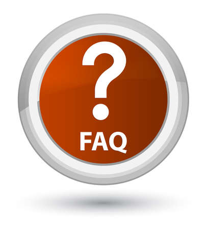 Faq (question icon) isolated on prime brown round button abstract illustration