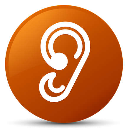Ear icon isolated on brown round button abstract illustration Stock Photo