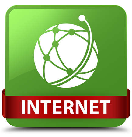 Internet (global network icon) isolated on soft green square button with red ribbon in middle abstract illustration