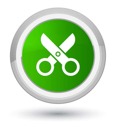 Scissors icon isolated on prime green round button abstract illustration
