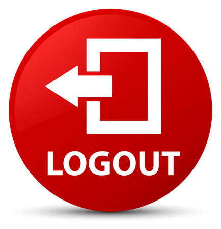 Logout isolated on red round button abstract illustration