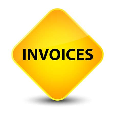 invoices: Invoices isolated on elegant yellow diamond button abstract illustration Stock Photo