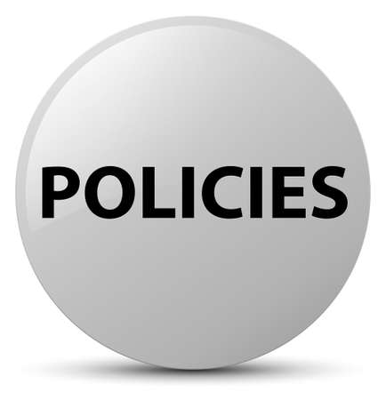 Policies isolated on white round button abstract illustration