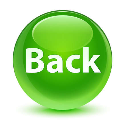 Back isolated on glassy green round button abstract illustration Stock Photo