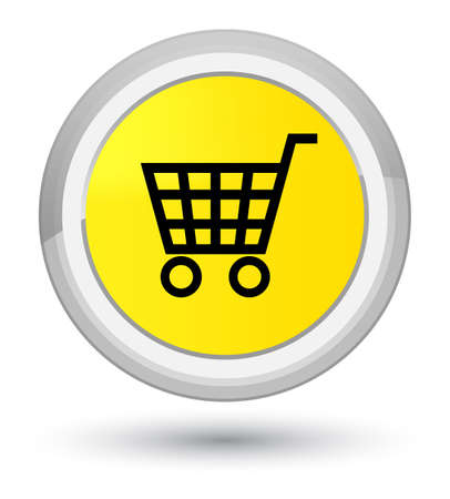 prime: Ecommerce icon isolated on prime yellow round button abstract illustration