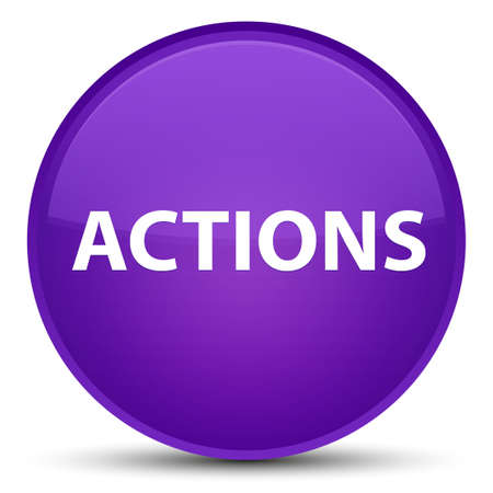Actions isolated on special purple round button abstract illustration
