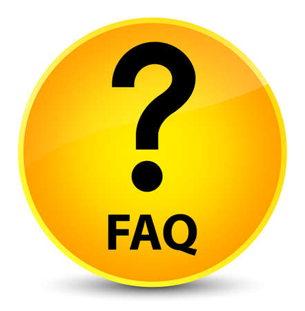 Faq (question icon) isolated on elegant yellow round button abstract illustration