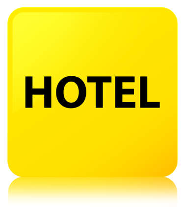 Hotel isolated on yellow square button reflected abstract illustration