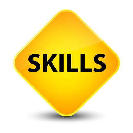 potential: Skills isolated on elegant yellow diamond button abstract illustration