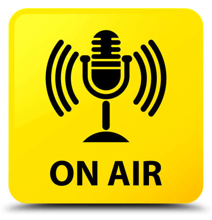 On air (mic icon) isolated on yellow square button abstract illustration