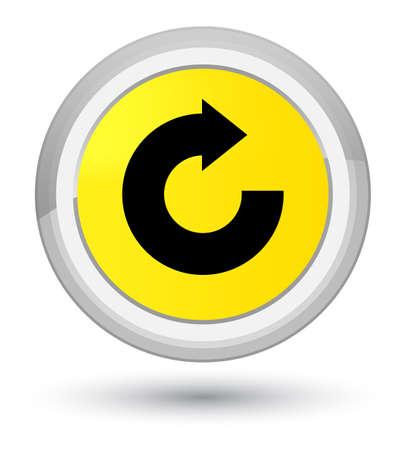 Icono de flecha de respuesta aislado en ilustración abstracta de botón redondo amarillo primordial Foto de archivo