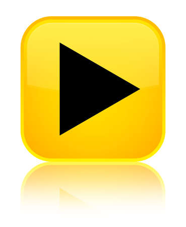 Play icon isolated on special yellow square button reflected abstract illustration Stock Photo