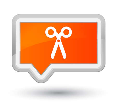 prime: Scissors icon isolated on prime orange banner button abstract illustration Stock Photo
