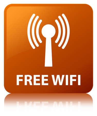 Wifi gratuit (réseau WLAN) isolé sur un bouton carré marron réfléchi abstrait illustration Banque d'images - 89871199