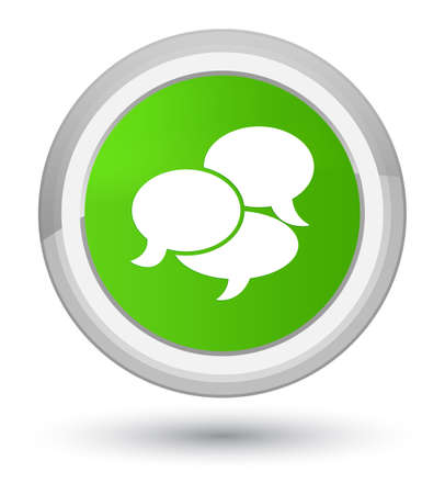 prime: Comments icon isolated on prime soft green round button abstract illustration Stock Photo