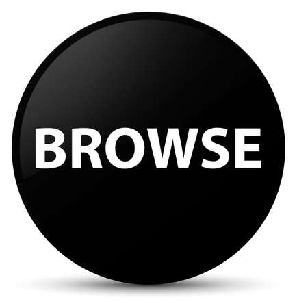Browse isolated on black round button abstract illustration Stock Photo