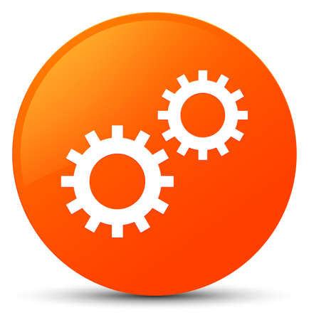 cogwheel: Process icon isolated on orange round button abstract illustration Stock Photo