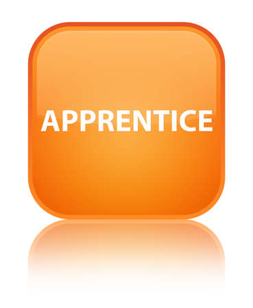 novice: Apprentice isolated on special orange square button reflected abstract illustration Stock Photo